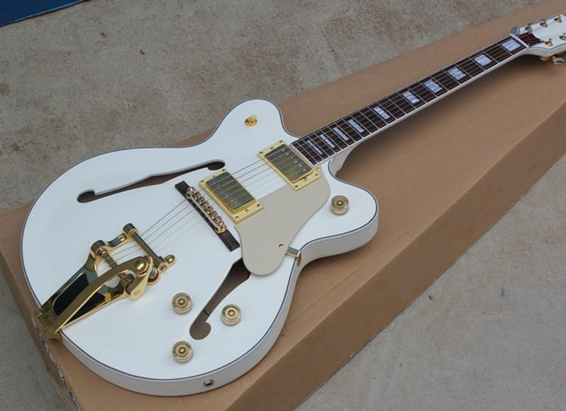 Benutzerdefinierte Großhandel weiße halb hohle E-Gitarre mit Vibrato-System, Gold Hardware, wissen zu binden, bieten maßgeschneiderte Dienstleistungen
