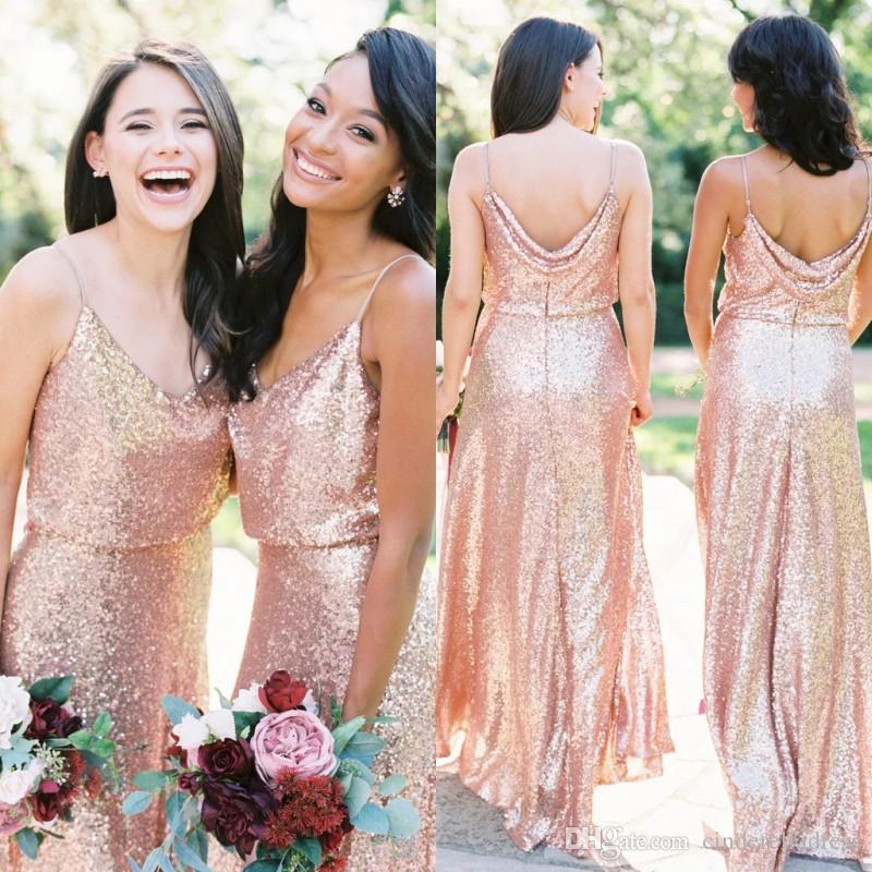 2020 Bling Длинные платья подружки невесты розовые золотые блестки дешевые ремни спагетти Ruched длина пола свадьба гостевая горничная честь платья BM0381