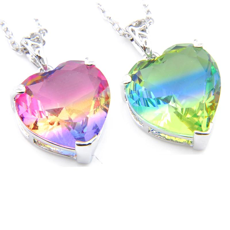 Luckhyshine Vintage Shiny Colorful Heart Bi colored Tourmaline Gems 925 Sterling Silver Necklace Women Wedding Engagement Pendants Jewelry