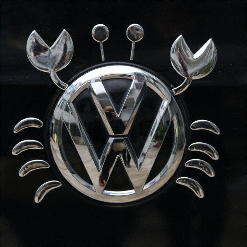 Caranguejo engraçado Etiqueta 3D decalque emblema do emblema do carro de vinil decalques logotipo para VW Volkswagen Qualquer Car