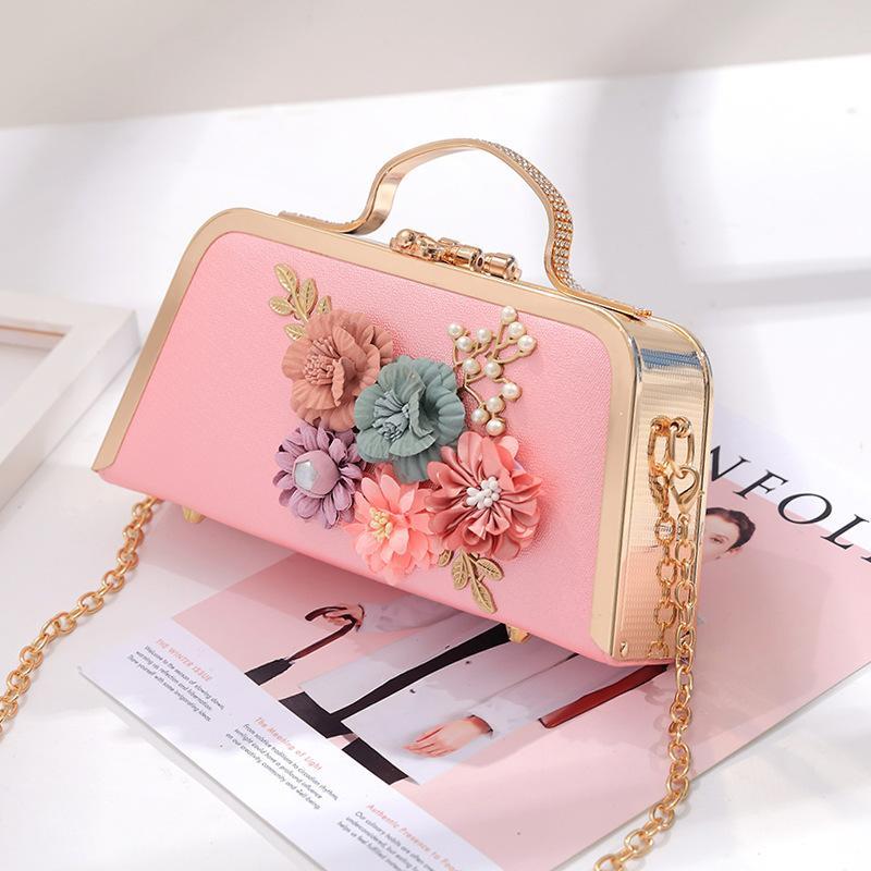 Nice2019 حقيبة مأدبة كاي المرأة زهرة حقيبة يد سلسلة واحدة الكتف اللباس الكامل عشاء الأزياء الملكي