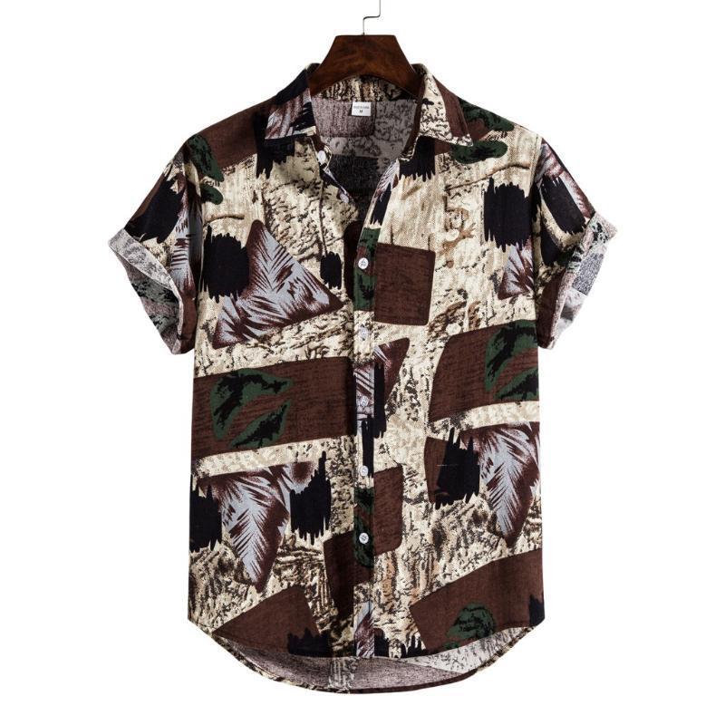 KANCOOLD Shirt Mens Lin ethnique à manches courtes Impression Casual Chemise hawaïenne Chemisier d'été vintage Hip Hop Lapel Camisa lâche 1