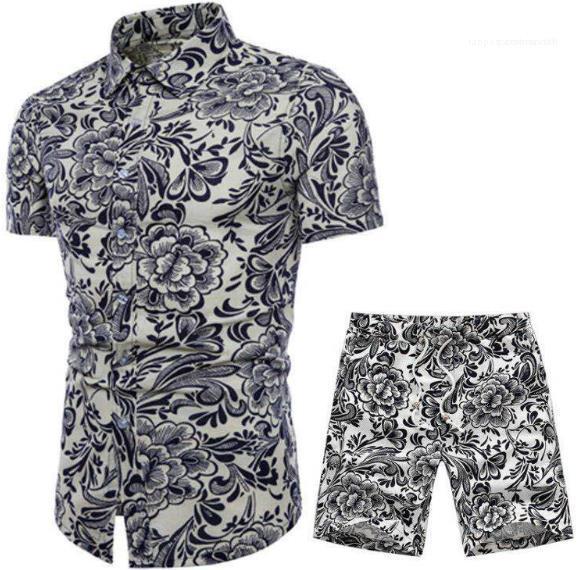 Tasarımcı Yaz Plaj Seaside Tatil Gömlek Şort Giyim Setleri 2adet Çiçek Eşofmanlar Erkek Takımları
