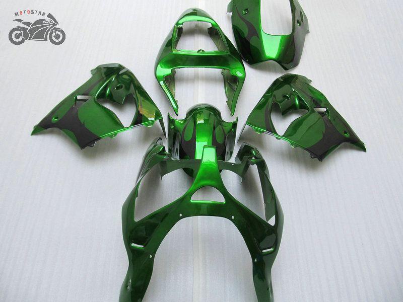 Бесплатные пользовательские запчасти мотоциклов для Kawasaki ZX9R Комплект обтекателя 2000 2001 Ninja ZX-9R 00 01 ZX 9R Зеленые черные обтекивания набор YY22