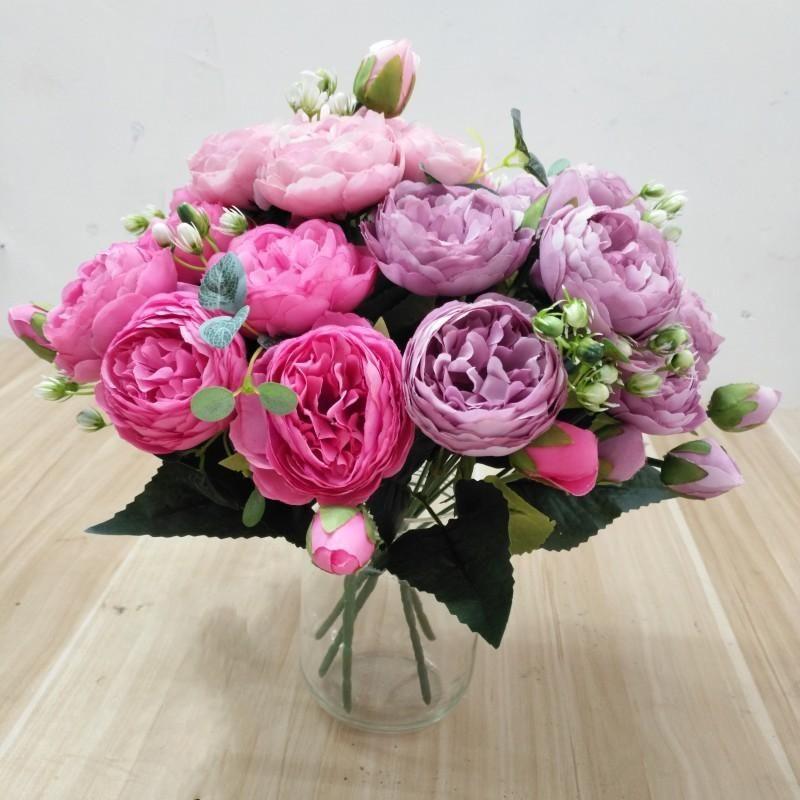 30CM روز الحرير الفاوانيا الاصطناعي الزهور باقة 5 الرأس الكبير و 4 براعم الزهور وهمية للديكور المنزل الزفاف باقة الزفاف