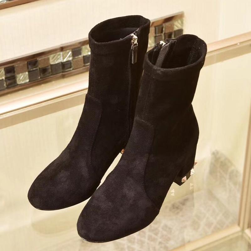 Plataforma Flock nueva moda los tacones altos mujer Botines Casual zapatos de marca diseñador de moda señoras de las mujeres zapatos otoño invierno