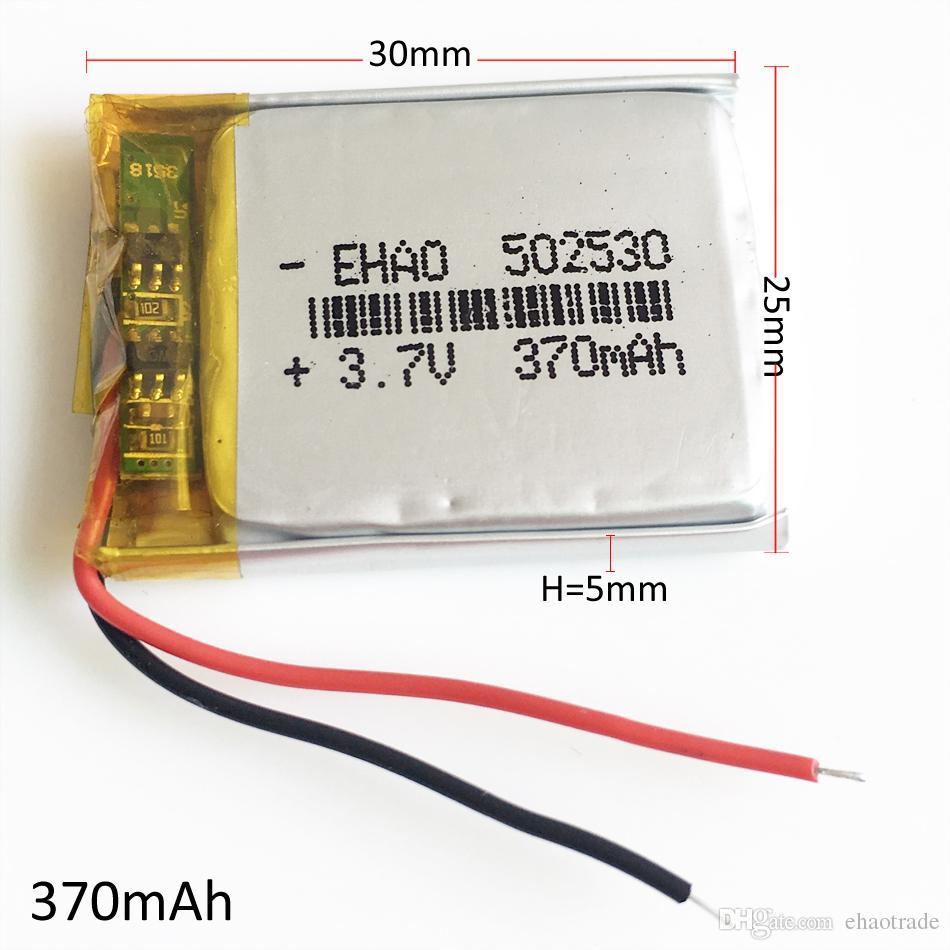 모델 : 502530 3.7V 370mAh 리튬 폴리머 충전식 배터리 LiPo 셀 전원 MP3 헤드폰 DVD GPS 휴대 전화 카메라 psp 완구