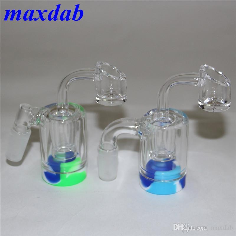 Acessórios para fumar Recuperação de vidro Catcher Catcher Catcaher Handmake com 4mm de quartzo banger unha e 5ml recipientes de cera de silicone para Dab Rig Bong