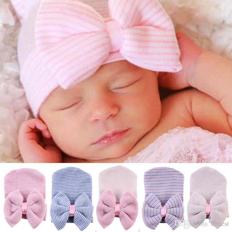 Baby Newborn Bow Hat Infant Baby Beanie Crochet Caps Kid Baby Boys Girls Winter Warm Cotton Stripe Headwear Hair Accessories