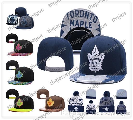 Gorros de punto de hockey sobre hielo de Toronto Maple Leafs Bordado Sombrero ajustable Gorros Snapback bordados Negro Azul Gris Sombreros cosidos blancos