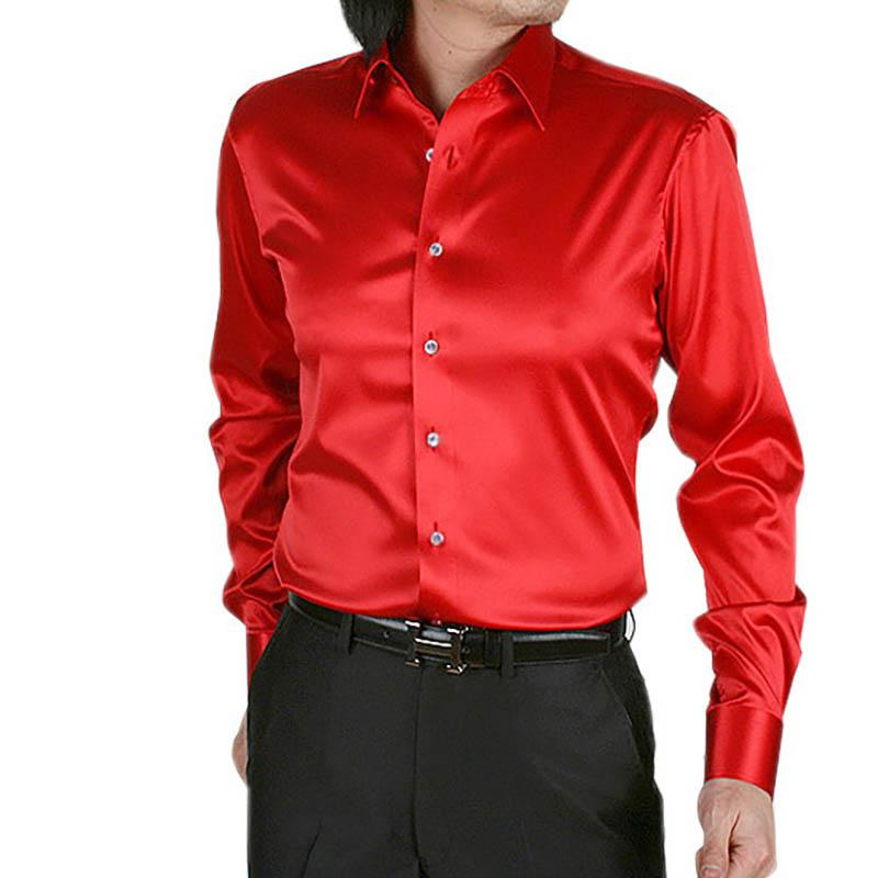 mens shirt long-sleeved satin silk pure color red
