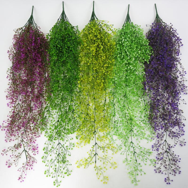 113cm artificielle Fleur de vigne Tenture Garland jardin de mariage Décoration Simulation du Golden Bell plante verte