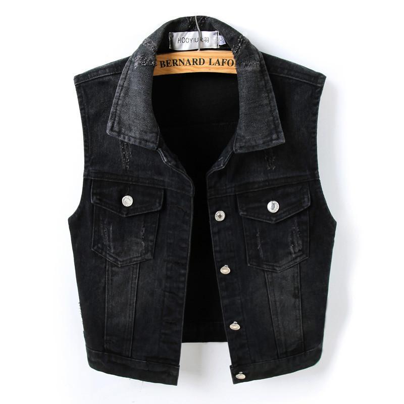Primavera Estate Breve denim della maglia delle donne 2019 casuali dimagriscono monopetto feminino maniche Jeans Giacche Cappotti Nero Plus Size LY191216