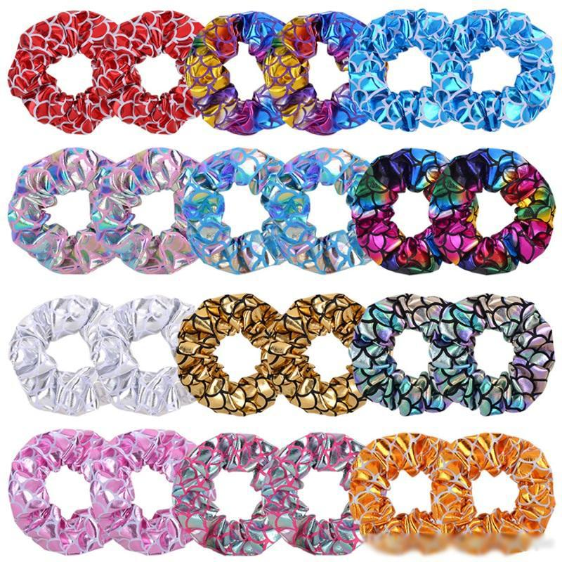 Women Shiny gold stamp Scrunches Hair Bands Elastic Hair Bands Girls Ponytail Holder Rope Scrunchie Hairbands