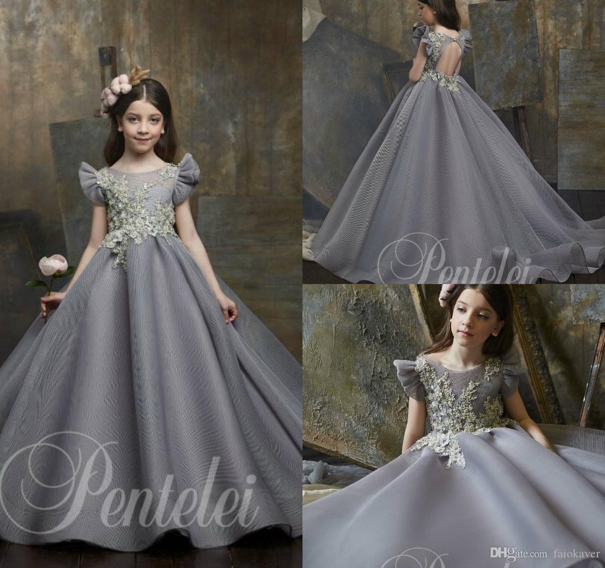 2020 Grey Flower Girl Dresses Jewel Neck Bead Appliqued Cap Sleeve First Communion Dress Custom Made Elegant Girls Pageant Gowns