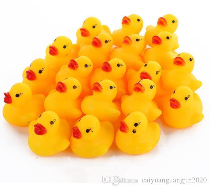 Mini Kauçuk ördek banyo ördek Pvc ses ile yüzen ördek bebek banyo su Oyuncak yüzme Plaj hediye Toptan mini Kauçuk banyo ördekler Pvc