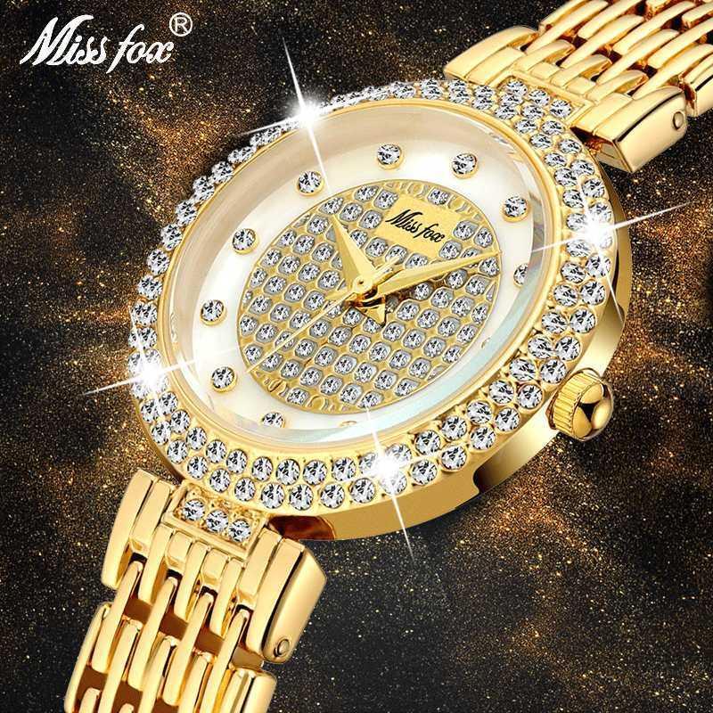 MISSFOX Diamond Watch For Women Pearl Shell Dial Female Wrist Watch Bracelet Gemstone Bling Bling Discounted Women