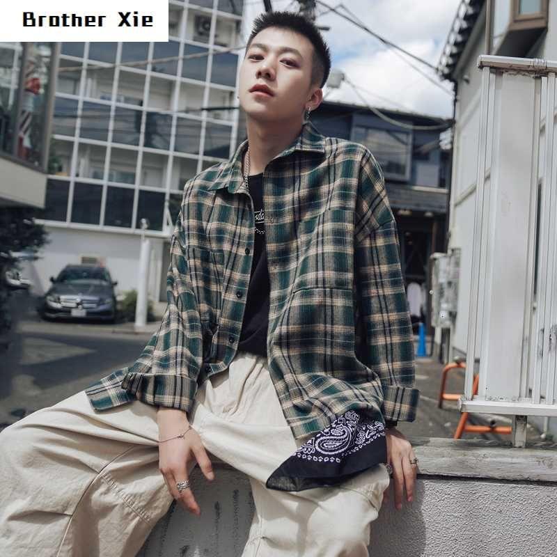 Automne Plaid Shirt Coton Casual Mode Rétro Hommes shirt homme Streetwear sauvage lâche manches longues chemises de ville pour hommes