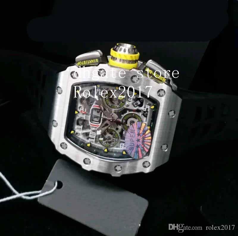 Мужская ASEL World KV Date Mens Watch ETA 7750 Кристаллический циферблат с синей краской Скелет Хронограф Автоматические мужчины Спорт RM 011 Наручные часы