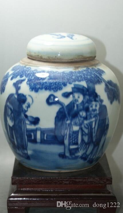 Fine Old Blue and white China painted Porcelain jars classic ceramic home decor decoration