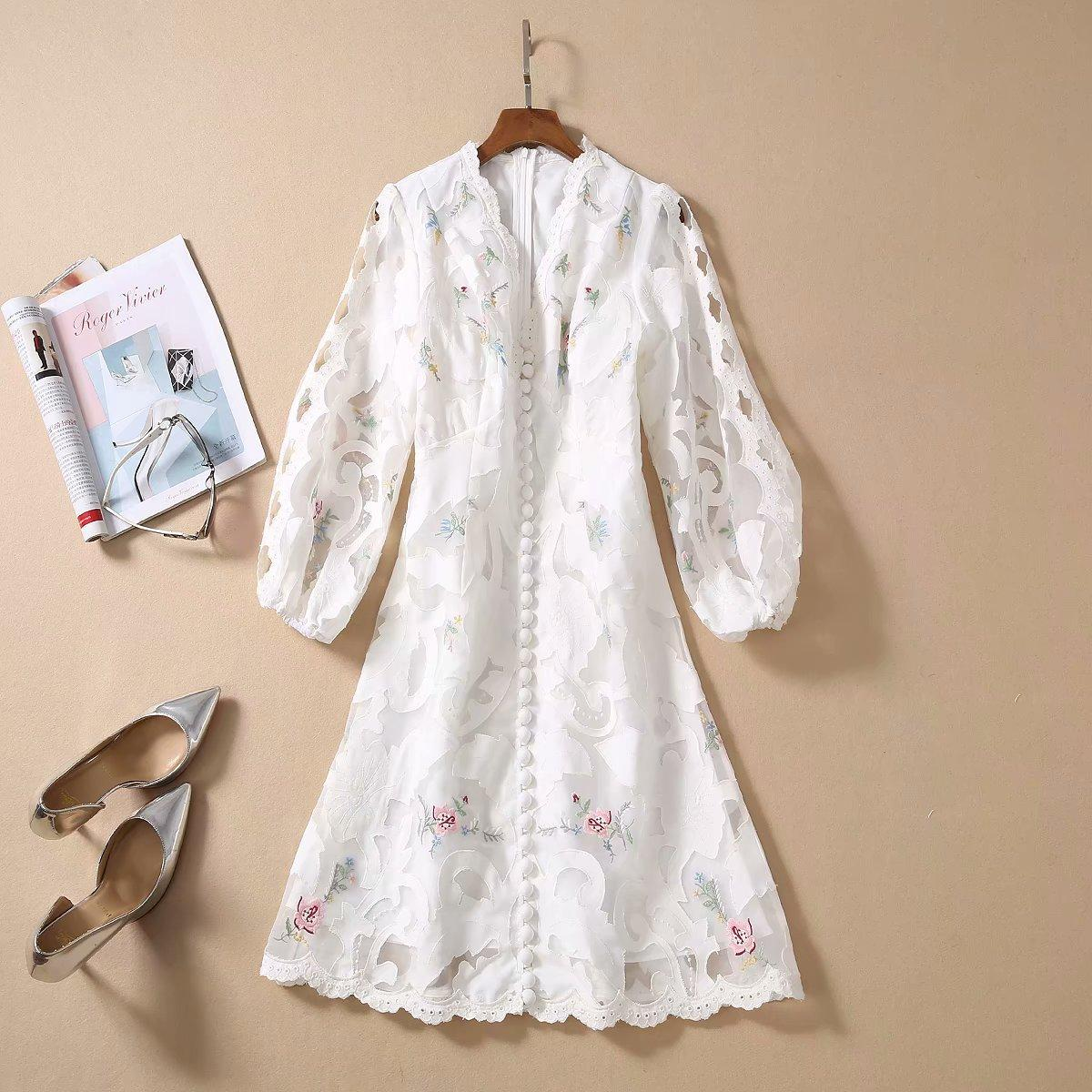 2020 Spring Summer Three-Quarter Sleeves V Neck White Floral Print Lace Embroidery Panelled Short Mini Dress Luxury Runway Dresses A052305A2