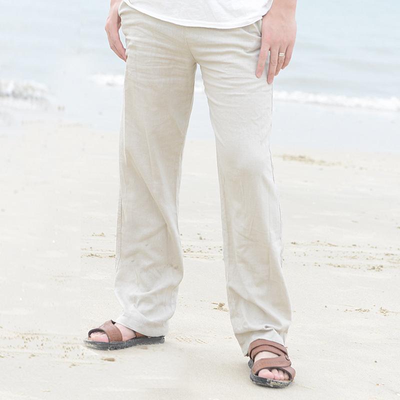 Pantaloni da uomo di lino pantaloni estate la vita elastica casuale allentato maschio pantaloni diritti Solid Plus Size 3XL Beachwear corridori pantaloni della tuta
