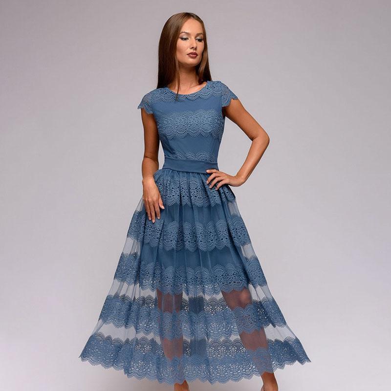 Kadınlar Seksi Dantel Patchwork Uzun Elbise Bayanlar O yaka Kısa Kollu Günlük Elbise 2020 Yaz Yeni Vintage Elegant A-line Parti