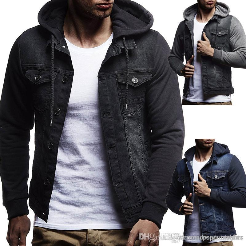 Mens Designer Jackets Fashion Designer Slim Hooded Drawstring Single Breasted Panelled Jean Jackets Casaul Mens Jacket