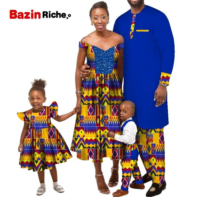 WYQ535 African Print Wax Cotton Mother Dresses Father Suit Girl's Skirt Boy's Jumpsuit Custom Bazin Family Clothing