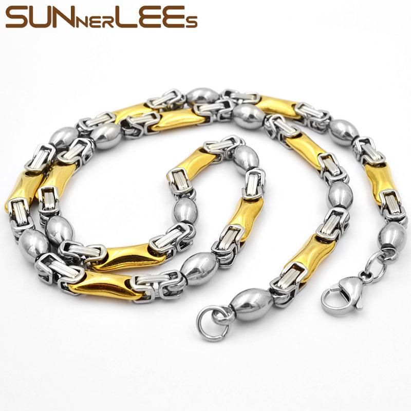SUNNERLEES Fashion Jewelry Stainless Steel Necklace 6mm Geometric Byzantine Link Chain Silver Gold Color For Men Women SC92 N