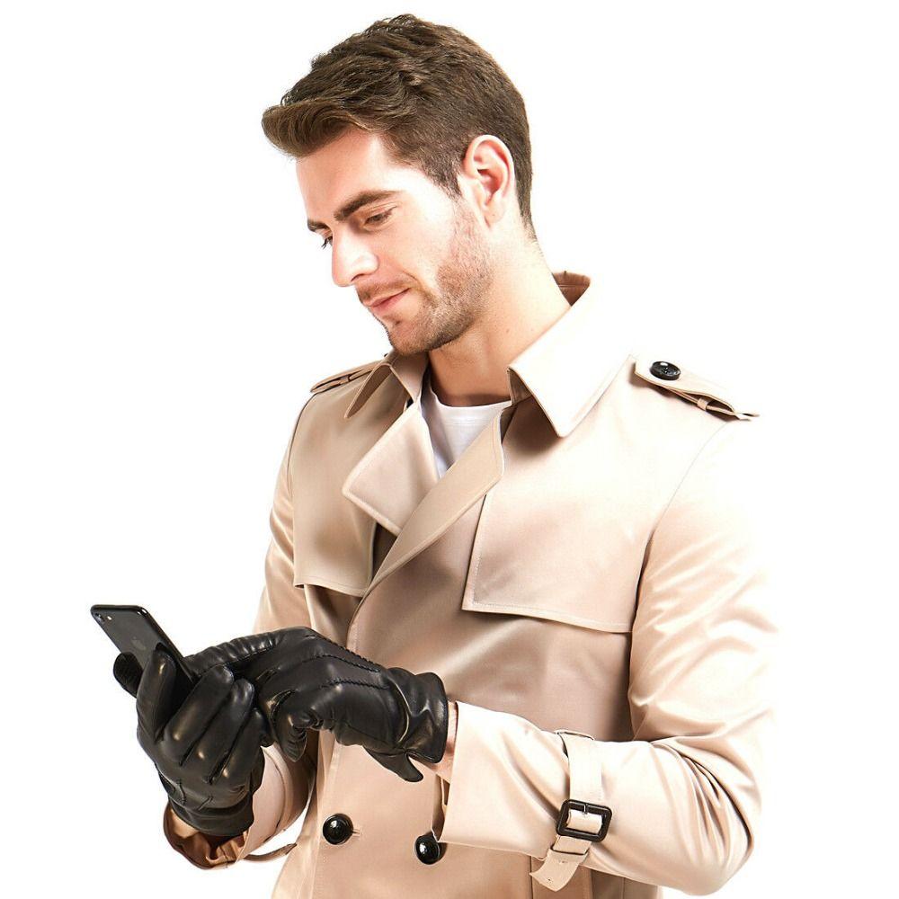 FREESHIPPING قفازات جلدية Harssidanzar رجل الشتاء خمر مصنعة صوف الكشمير مبطنه