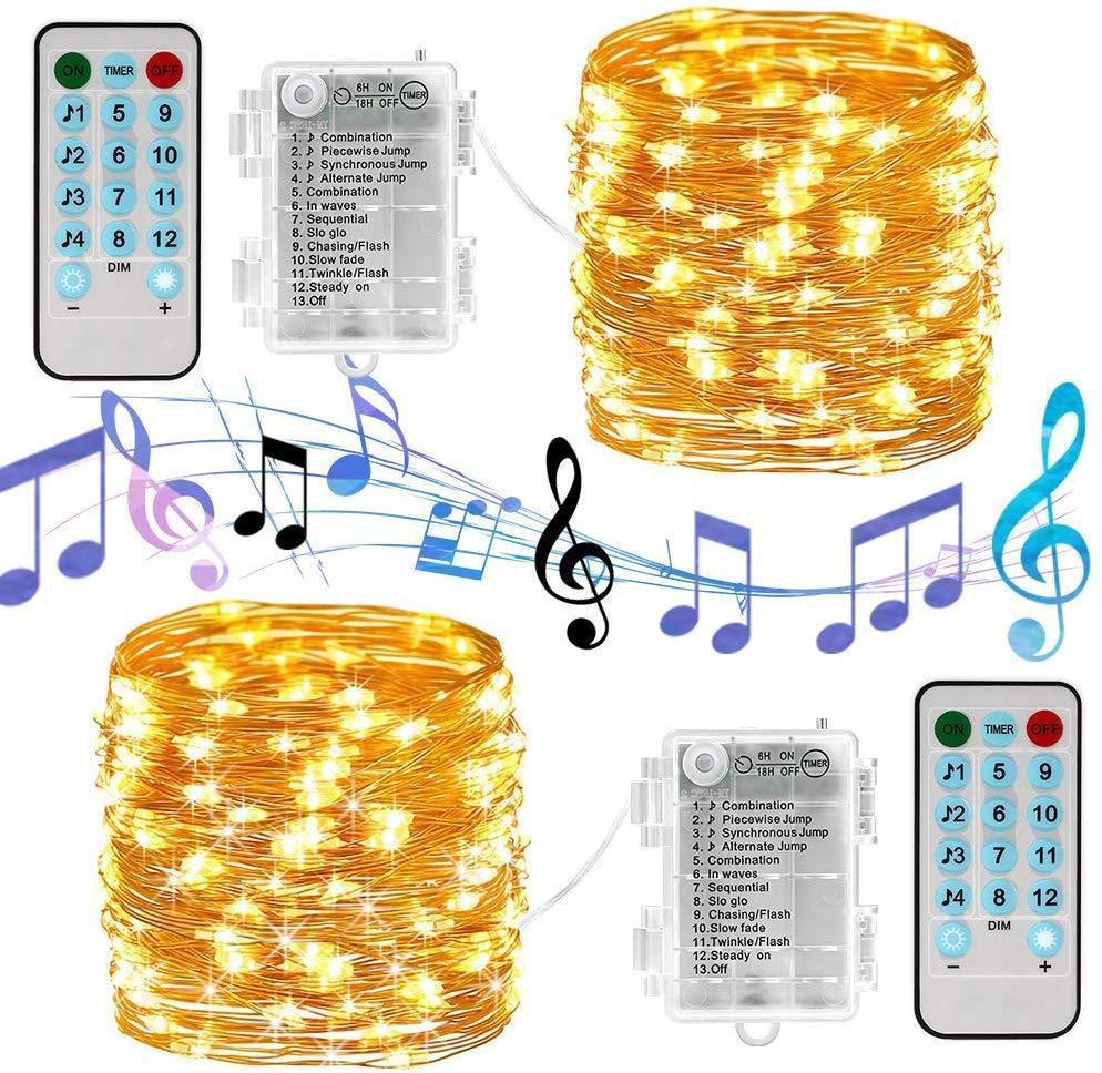 Batteria Luci di Natale, 16 Luce natalizia .4ft 50 ha condotto Musica suono attivato, con telecomando, timer, Luci impermeabile della stringa della batteria per Natale