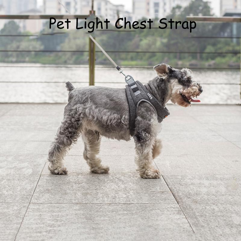 @HE Pet light chest strap Adjustable Breathable Reflective Safety Pet Dog Harness Lead Dog Chest Straps Accessories