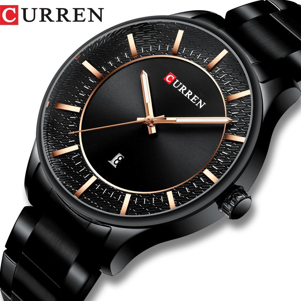 CURREN Top Marque Homme Montres Homme Mode Horloge Quartz Montres Hommes d'affaires en acier avec bracelet Date de noir classique Homme