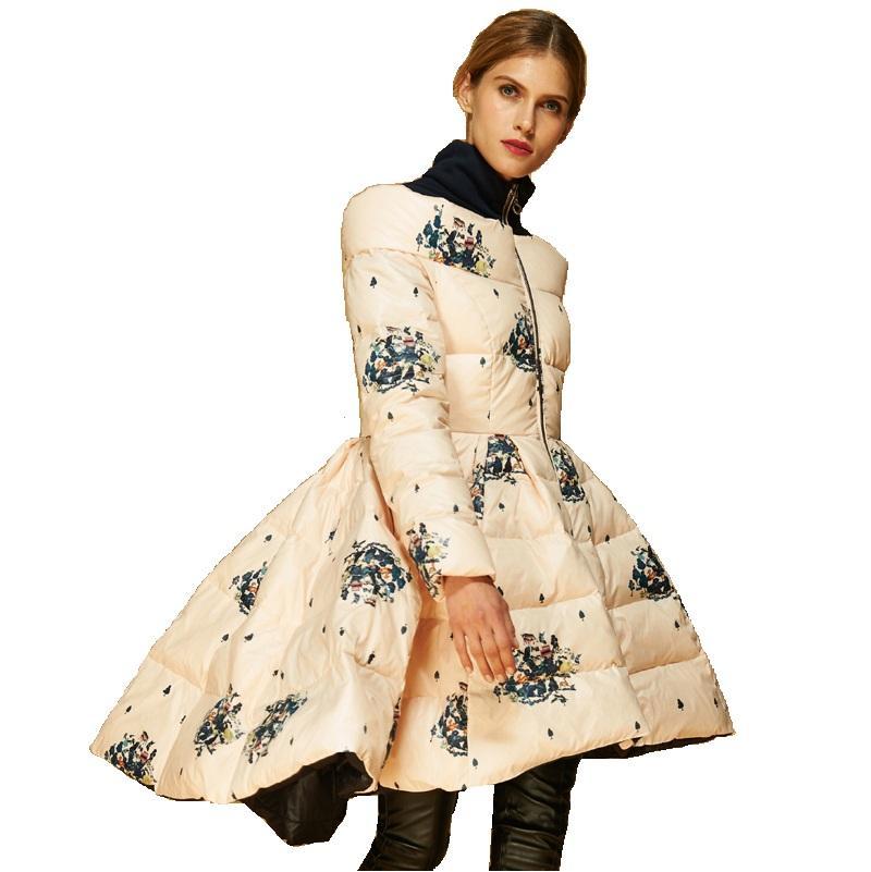عالية الجودة إيطاليا مصمم أزياء 2019 معطف الشتاء النساء فاخرة حقيقية بطة أسفل سترة سترة غير المتناظر المطبوعة تنورة سترة