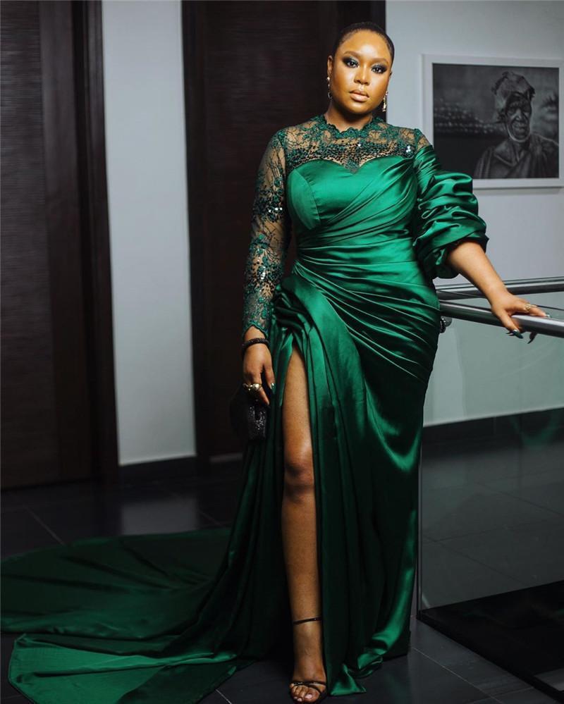 Mangas compridas sexy verde escuro Mermaid Prom Dreses Africano High Side Dividir Evening Vestidos Vintage Formal África Partido Vestidos vestidos de novia
