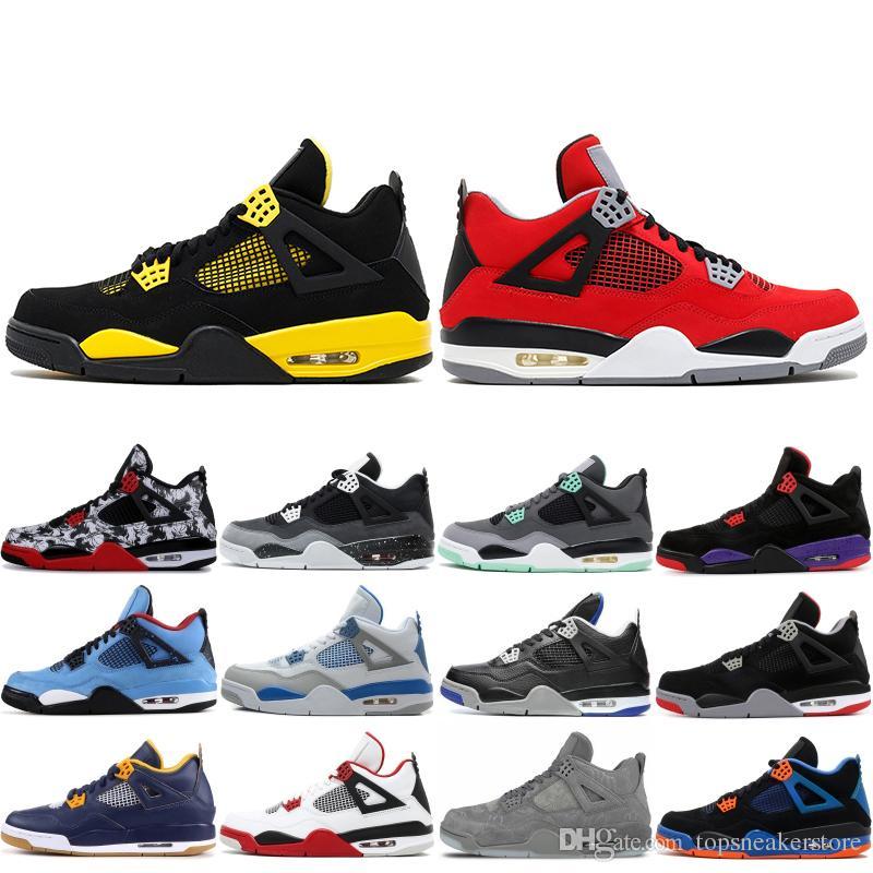 4 4s Basketbol Ayakkabıları 2020 Erkek Üst Kalite Thunder Raptor Askeri Mavi Dövme Trainer Erkek stilist Sneakers Spor Ayakkabı ABD 7-13