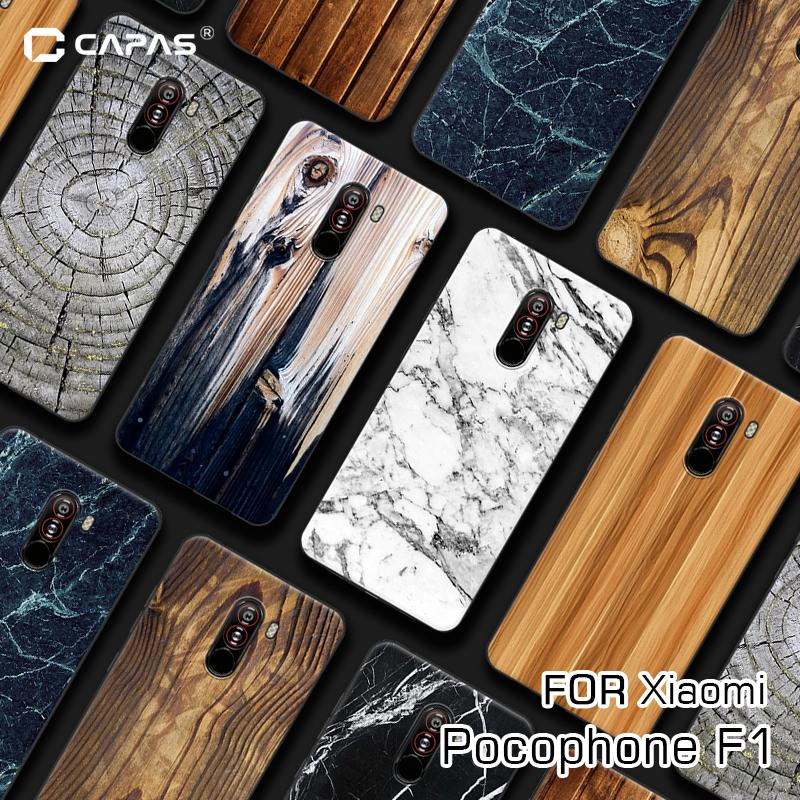Pocophone F1 Case Cover Silicone Soft Tpu Wood Wooden Stone Patterned Phone Case For Xiaomi Poco F1 Protective Cover Shockproof