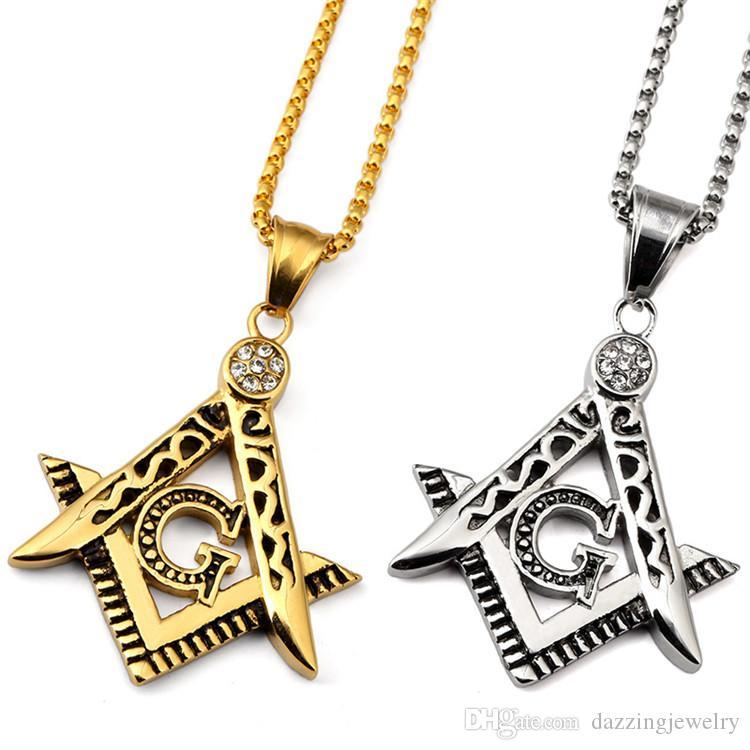 Cheap Wholesale Fashion New Hip Hop 316 Stainless Steel Gold Silver Freemason Masonic Emblem Free Mason Pendant jewelry with CZ stones