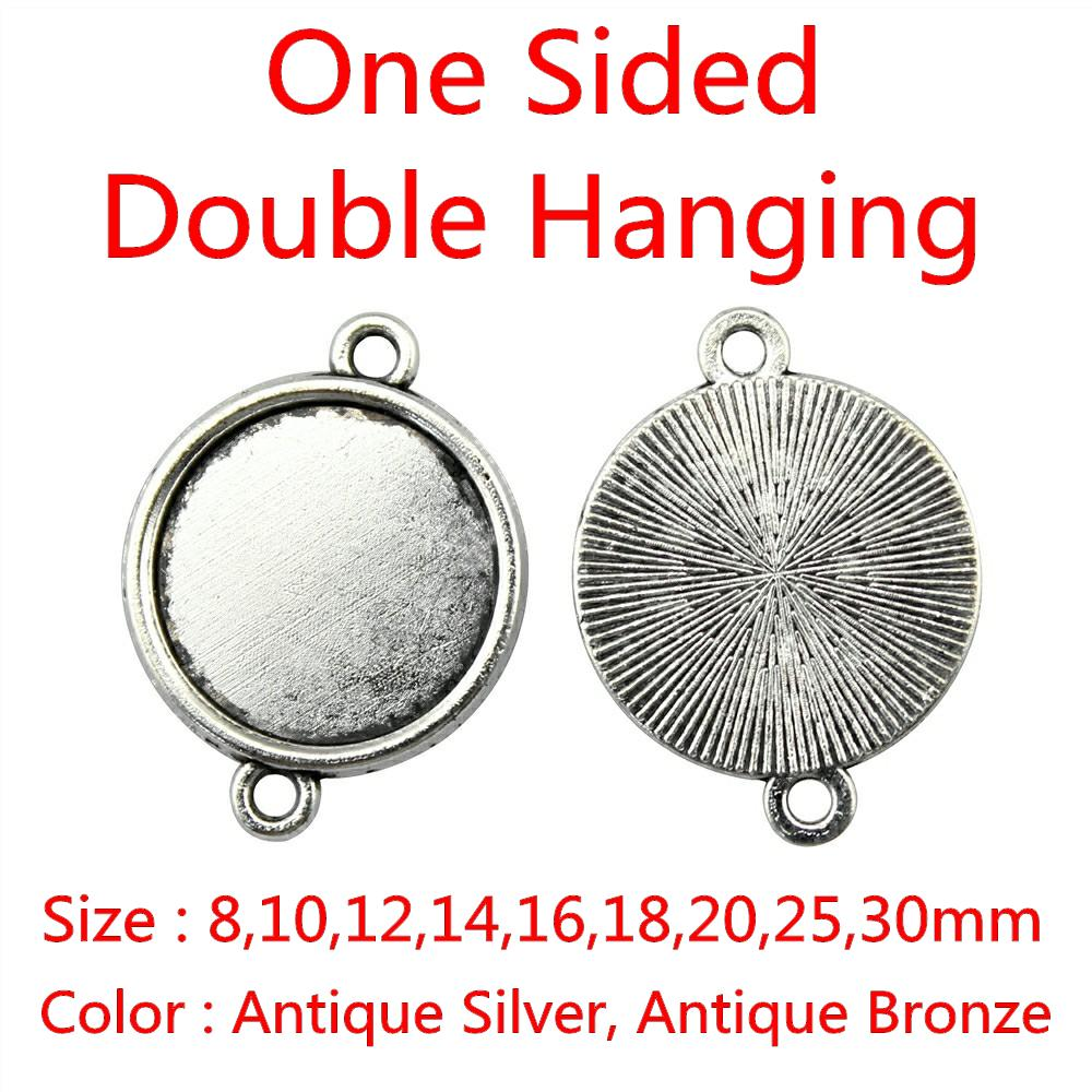 10pcs Antique Silver Jewelry Connector Charms Fit 8mm Round Cameo Setting Base