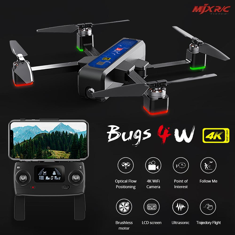 Yeni Uçağı ile 4K Kamera MJX Bugs 4W B4W Drone 5G WiFi FPV GPS 20mins Fly Zaman Optik Akış Konumlandırma RC Quadcopter RTF