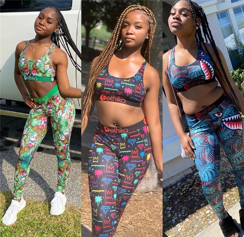 Femmes design Survêtement été imprimé floral soutien-gorge Gilet + Pantalon Legging deux pièces Set Tenues Mode casual Maillots de bain Vêtements de sport Suit Top Vente