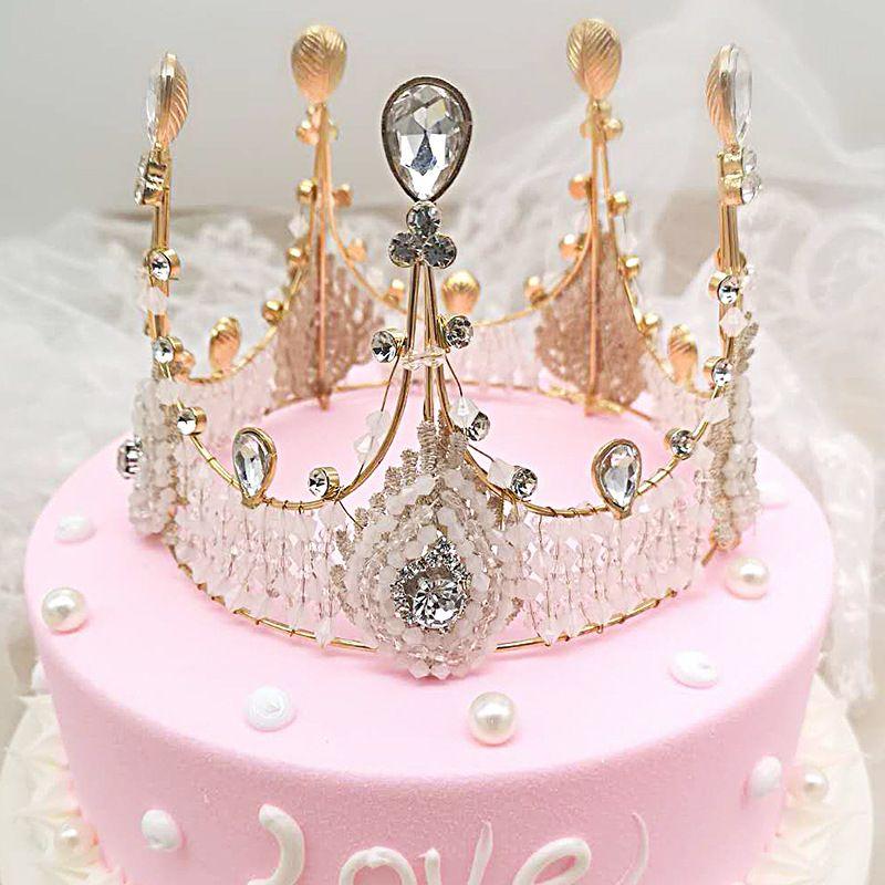 Çocuklar Hairband Pişirme Kek Crown Kek Toppers süslemeler Retro Kristal Taç Şeklinde Kızlar Prenses Doğum Günü Pastası Araçları Saç Aksesuarları