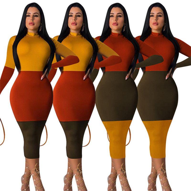 Женщины облицованы миди платья лето весна одежды Beachwear сексуальный клуб длинный рукав колонки оболочки Bodycon сторона праздник платье мода 0018