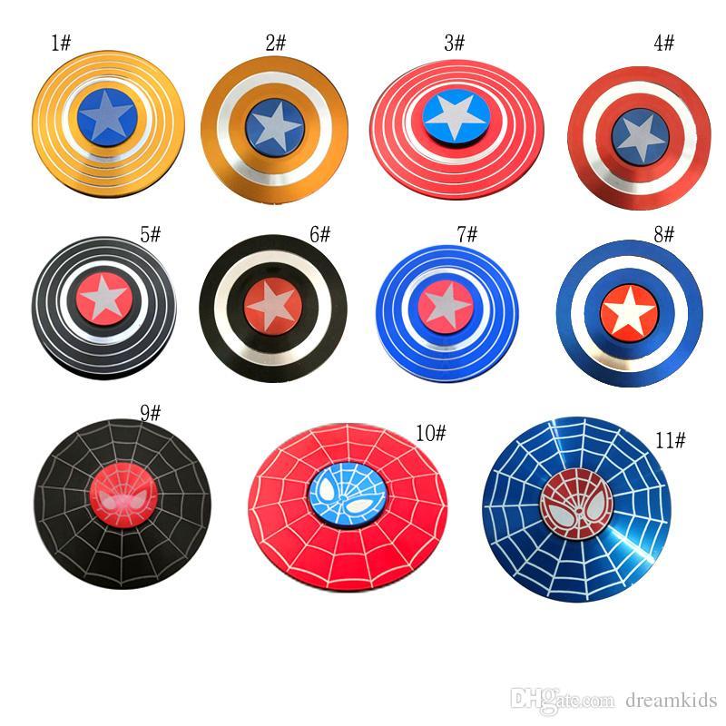Capitão América Escudo Spinner Mão De Metal Fidget Spinners Homem De Ferro Fidget Liga de Puzzle Brinquedos EDC Autismo TDAH Dedos Gyro brinquedo
