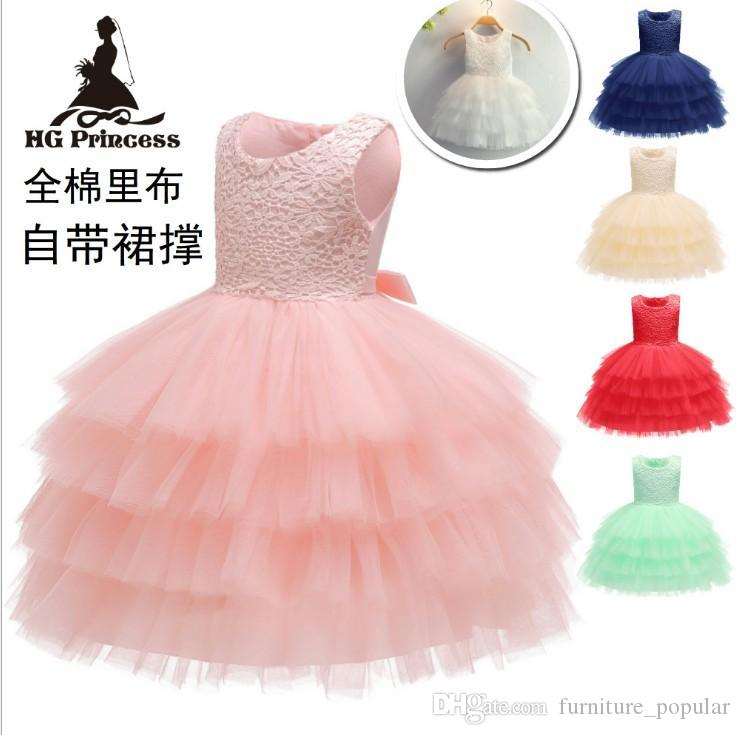 2019 Girls Ins Pretty Sweet High Quality Lace Tutu Dress Childrens Sleeveless Embroidered Boat Neck Princess Dress Kids Clothing For Party