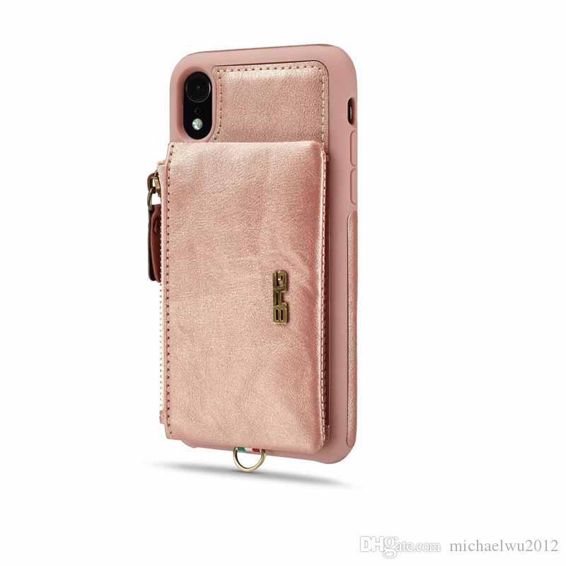 Caso de couro pu para iphone xr luxo 2 em 1 destacável alça de mão carteira acessórios do telefone capa para iphone xr xs 7 8 6 mais