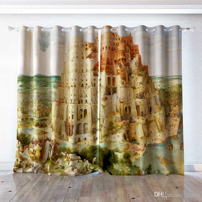 personality Custom curtain world famous painting Tower of Babel drapes Extra wide Blackout curtain party decoration background