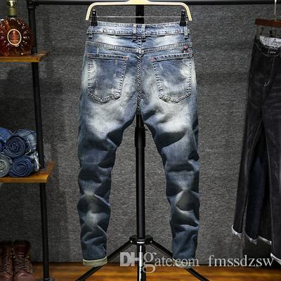 Bordado bordado moda de rua versão coreana do buraco jeans homens personalidade trecho estiramento calças