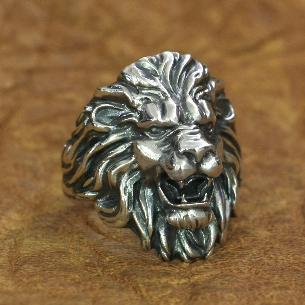 925 Sterling Silver King of Lion Ring Mens Biker Rock Punk Ring TA191 US Size 7~15 Free Shipping